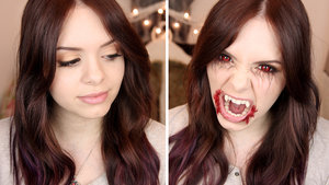 """TVD Season 6 has started so I decided to recreate both her """"normal"""" and her hungry vampire look!  Watch me create this look here: https://www.youtube.com/watch?v=jRrHyC36yLo"""