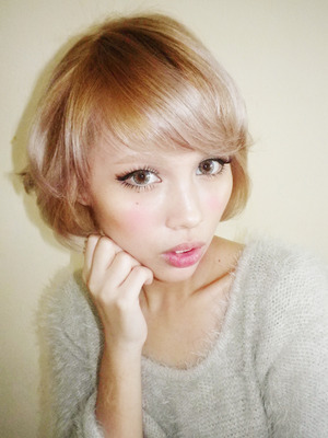 sweet and simple gyaru eye makeup from my new blog post http://www.pinkoolaid.com/2013/02/new-hair-color-camwhore-post.html