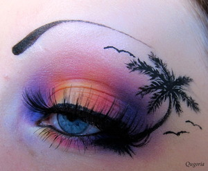 "A hawaii inspired eyelook that I did last summer for a hawaii themed birthday party. I've used the ""Burning heart"" palette by sugarpill, some shadows from the coastalscents 88 palette together with a dip eyeliner from Isa dora (To make the palmtree)."
