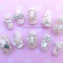 Vintage Lace Cameo Bridal nails