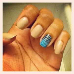 neutral nails with an ombre strip design