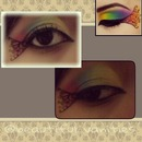 rainbow shadow look and eyeliner design