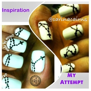 White base polish with black rosary design. Hand done using a small embossing tool and a lot of patience.