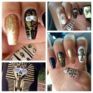 King tut Egypt nails , acrylic paint , shades