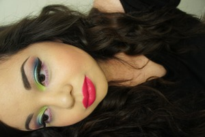 A look using Lime Crime's new Aquataenia Palette & Centrifuchsia lipstick.