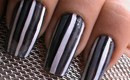 Grey Striping Nail Art Design - Freehand Nail polish Designs Stripes - Lining Black White Grey