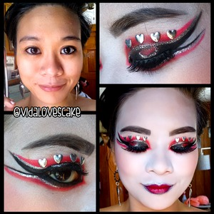 A fun look I made for the #BHCosmetics Valentine's Day Contest. I know it's not everyone's cup of tea, but I am damn proud of this look and had no much fun making it. Since today (March 13th) is the last day to cast in your votes, I figured I can finally post this up. Win or lose, I had a blast doing this look and am incredibly honored to have been chosen for the Top 10 amongst so many talented individuals.  Maybe I'll win next year!  ^___^ #mehroncelebre #nyxcosmetics #elfcosmetics #bhmalibu #geisha #geishaqueenofhearts #vidalovescake #asian #asianmakeup #theatricalmakeup #fantasymakeup #bornprettystore #ardell #makeup #beauty #mua #sephora