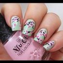 cherry blossom minty nails