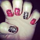Fuchsia and Gold Animal Print Nails