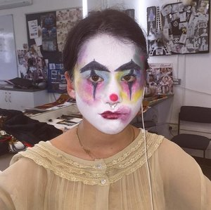 FOUNDATION - Ben Nye Clown White Face Paint SETTING POWDER - Kryolan HD Micro Finish Powder EYELINER - Tarte Tarteist Clay Paint Liner Black EYESHADOW - Girlee Eye Colour Pan Chartreuse, Lemon Zest, Tulip, Purple Passion And Peacock LIPSTICK - Girlee Lipstick Carousel All That Red
