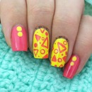 Pink & Yellow triangles and circles!