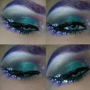 """Random look I came up with. Tutorial coming soon. The green is """"Gusty Green"""" from the Maybelline Eye Studio Color Plush Silk Eyeshadow Palette.. Rhinestones I ordered online."""