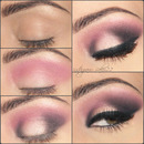 Pink dramatic smokey eyes