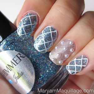 Not just for brides! Details on my blog: http://www.maryammaquillage.com/2013/06/something-blue-bridal-nail-art.html