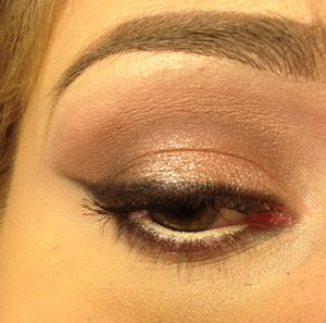 """Using the Urban Decay Naked 3 palette  -""""Limit"""" in the crease and faded up to the brow bone -""""Nooner"""" in the crease with a slightly smaller brush for more concentrated color -""""Strange"""" to highlight the brow bone and inner corner of the eye -""""Trick"""" in the center of the lid -""""Factory"""" on the outer third of the lid and along the lower lash line -""""Burnout"""" on the inner third of the lid -""""Blackheart"""" as a smudgy liner using the a piece of tape as a guide  -NYX Wonder Pencil in """"Light"""" on the waterline"""