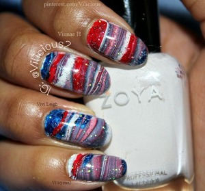 This was a 4th of July inspired water marble I did the day after the 4th of July. x) The nail polishes I used were: Zoya Purity, America, Song & Orly Shine On Crazy Diamond.