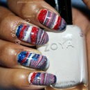 4th of July inspired water marble