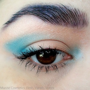 Flesh on the lid, Vanish on the outer and inner corners, Vortex in the brows REVIEW: http://www.beautybykrystal.com/2013/05/mazzie-cosmetics-handmade-vegan.html