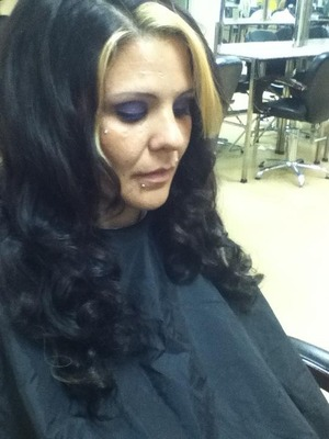 curled with a curling iron then pinned to set, then brushed out and reformed curls