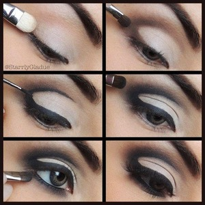 Step by step (all products are MAC): 1. Apply Brule eyeshadow all over lid with #239 brush 2. Line crease with Espresso eyeshadow and blend out using #228 brush 3. Line lash line & crease with Blacktrack fluidline using #210 brush 4. Blend out fluidline with Carbon eyeshadow using #228 brush 5. Line waterline with Smolder eye kohl & blend out with Carbon using #228 brush 6. Apply lashes and mascara :)