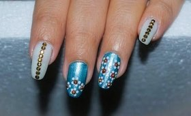 Nail Art With Dotting Tool ~ Blue White Nail Designs