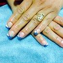 White & Blue glitter nails