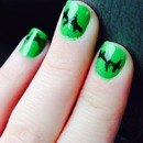 My zombie/or Frankenstein nails