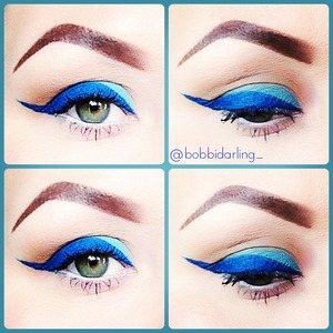 1. Apply light neutral brown to the crease and blend out 2. Apply lightest blue from the Sedona Lace 120 palette on the lid  3. Mix the darkest shade of blue from the same palette with visine and create your winged liner 4. Apply nyx white eyeliner to the bottom waterline  5. Apply nyx doll eye mascara and then maybelline's blue mascara