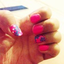 Pink $ blue flower nails
