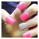 Hot pink and glitter nails