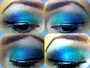Silver & black liquid liners with greens, blues and purple eyeshadow