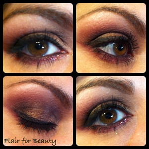 A harmony in brown with a dark pink halo and plum glitter under the eye.