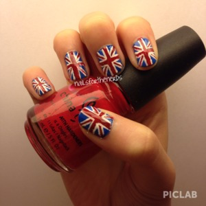 British flag nails I did using a toothpick