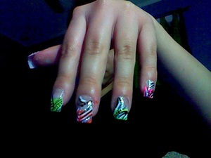 acrylic nails (dots & lines)