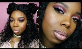 Pink Glitter Glam Holiday Makeup