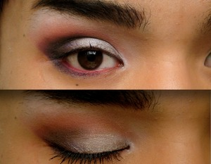 A purple based smokey eye fading into a matte brown at the top of the crease, silver cream shadow on the lid and white matte brow and inner corner highlight.