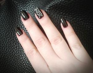 dark brown manicure