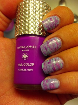 Pink,  Blue and Purple Fan Brush Nails inspired by https://www.youtube.com/watch?v=pmcF6czRgx4