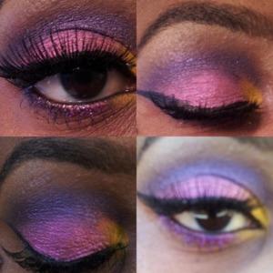 Mac fushia,yellow and purple shadows