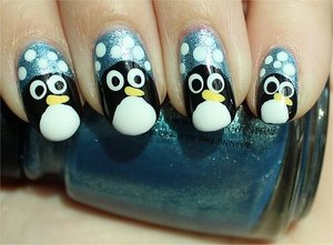 Nail tutorial & more photos here: http://www.swatchandlearn.com/nail-art-tutorial-penguin-nails/