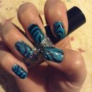 Black and blue water marble