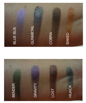 UD  book of shadows IV swatches colors 6-12 and 13-16