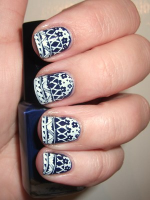 Navy Mixed Print Nails  http://polishmeplease.wordpress.com