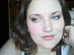 I used the UD Naked palette -- Half Baked, Smog and Virgin.  I also used UD liners -- inner to outer: Midnight Cowboy, Baked, and Bourbon. On my lips is Josie Maran lipstick in Birthday Suit (I think) and filled in with a Mac lip liner in Brulé (I think)