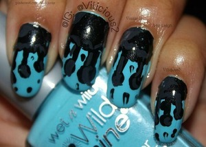 Black drips.♥ I loved this mani.♡ I used Wet n Wild Teal Slowly and See for the base, and for the black drips, I used Zoya Raven & grey acrylic paint.