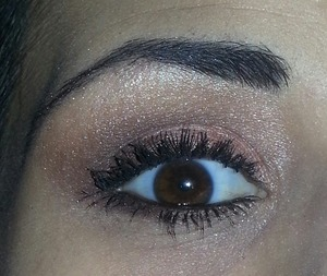 Smashbox's new Love Me Admire Palette.  The pink color is on my inner corners with the lighter beige-y pink color for my brow highlight.  I used the matte(ish) light brown shadow in my crease and blended it into the dark brown shadow on my outer corner of my eye. Also, I lined my lower lashes with the dark brown color on my outer lid and finished with two coats of Bad Gal Lash Mascara by Benefit.