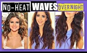 NO-HEAT SELENA GOMEZ CURLS OVERNIGHT TUTORIAL   HEATLESS WAVES HAIRSTYLES FOR MEDIUM LONG HAIR