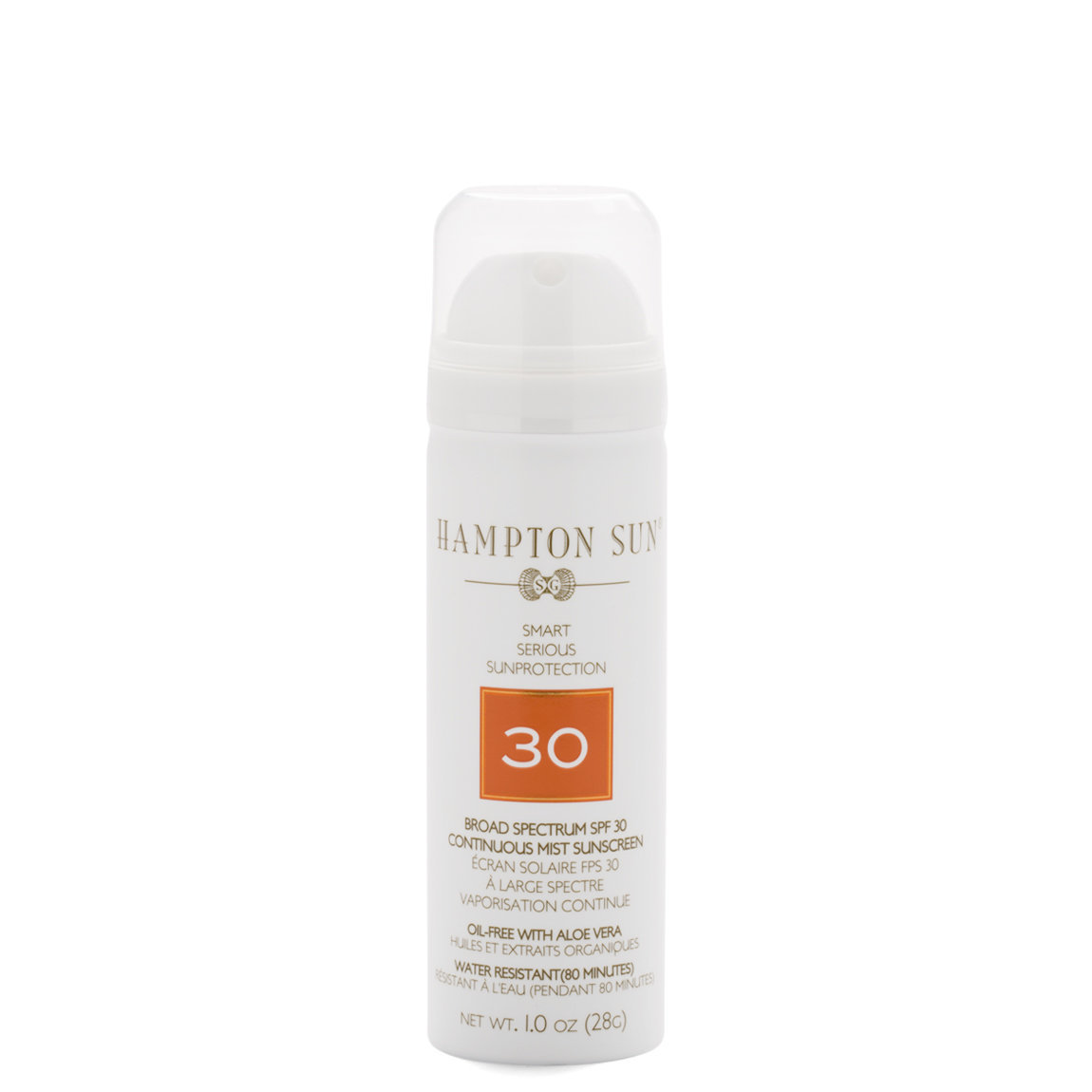 Hampton Sun SPF 30 Continuous Mist Sunscreen 1 oz (Travel) product swatch.