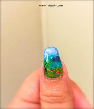 Detail Tutorial http://lovefornailpolish.com/scenery-nail-art-freehand-nail-art-design