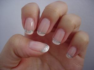 Pink French with glitter